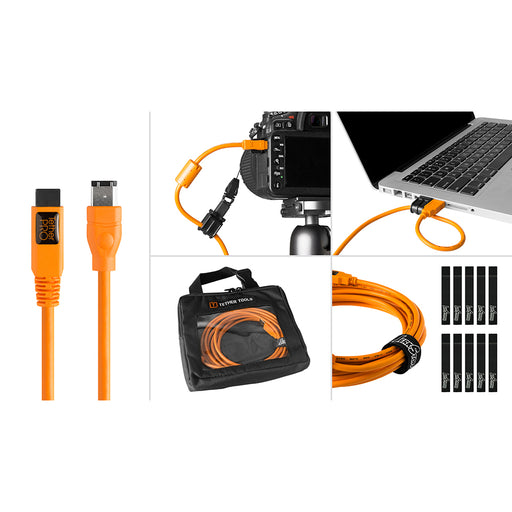 Tether Tools Starter Tethering Kit - TetherPro USB-C to USB-C, 15' (4.6m), High-Visibility Orange (Incl. USB Flat Mount Computer Support)