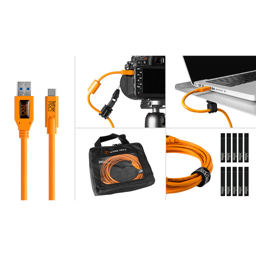 Tether Tools Starter Tethering Kit - TetherPro USB 3.0 to USB-C, 15' (4.6m), High-Visibility Orange