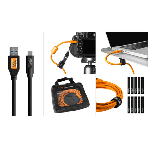 Tether Tools Starter Tethering Kit - TetherPro USB 3.0 to USB-C, 15' (4.6m), Black