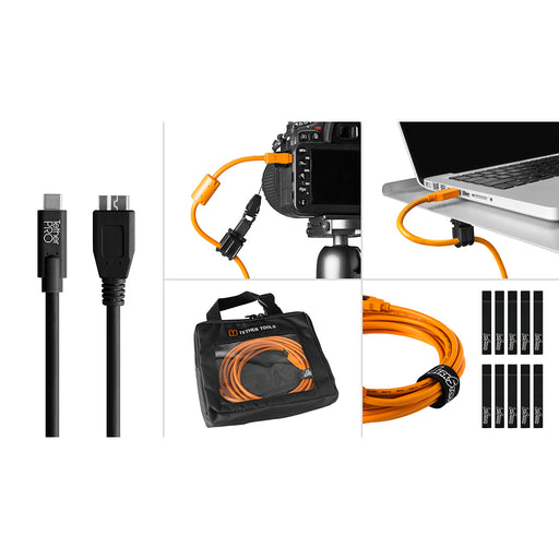 Tether Tools Starter Tethering Kit - TetherPro USB-C to 3.0 Micro-B, 15' (4.6m), Black (Incl. USB Flat Mount Computer Support)
