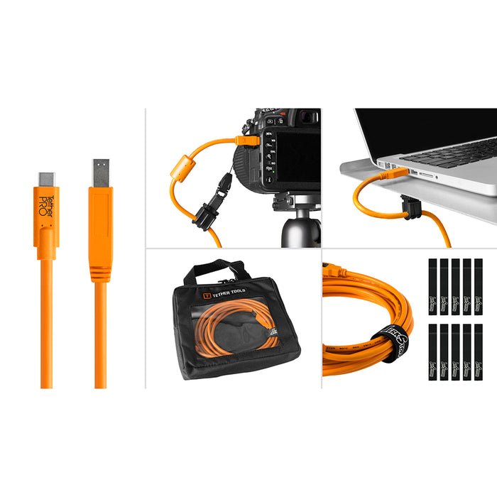 Tether Tools Starter Tethering Kit - TetherPro USB-C to 3.0 Male B, 15' (4.6m), High-Visibility Orange (Incl. USB Flat Mount Computer Support)