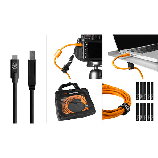 Tether Tools Starter Tethering Kit - TetherPro USB-C to 3.0 Male B, 15' (4.6m), Black (Incl. USB Flat Mount Computer Support)