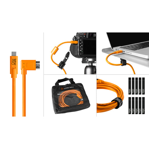 Tether Tools Starter Tethering Kit - TetherPro USB-C to 3.0 Micro-B Right Angle, 15' (4.6m), High-Visibility Orange (Incl. USB Flat Mount Computer Support)