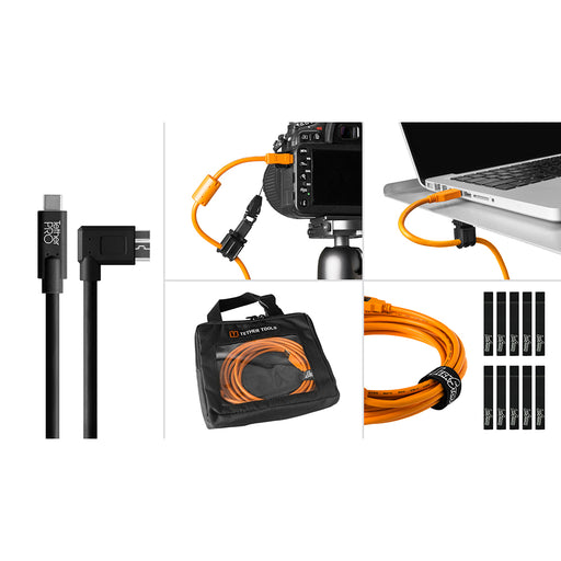 Tether Tools Starter Tethering Kit - TetherPro USB-C to 3.0 Micro-B Right Angle, 15' (4.6m), Black (Incl. USB Flat Mount Computer Support)