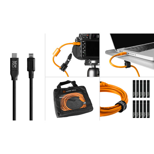 Tether Tools Starter Tethering Kit - TetherPro USB-C to 2.0 Micro-B 5-Pin, 15' (4.6m), Black (Incl. USB Flat Mount Computer Support)