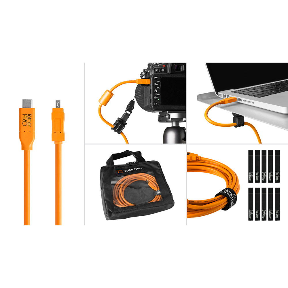 Tether Tools Starter Tethering Kit - TetherPro USB-C to 2.0 Mini-B 8-Pin, 15' (4.6m), High-Visibility Orange (Incl. USB Flat Mount Computer Support)