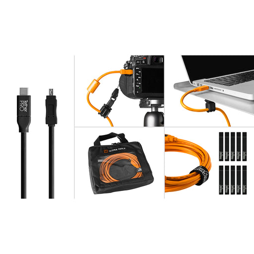 Tether Tools Starter Tethering Kit - TetherPro USB-C to 2.0 Mini-B 8-Pin, 15' (4.6m), Black (Incl. USB Flat Mount Computer Support)