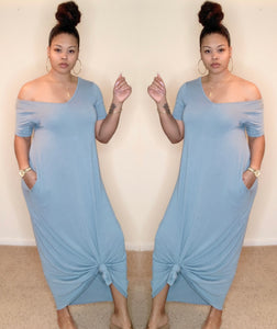 Maxine Dress (Blue-Grey)