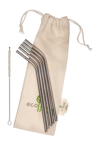 5 Stainless Steel Drinking Straws with Plastic-Free Cleaning Brush & Organic Carry Pouch