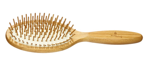 Bamboo Hairbrush - With Wooden Pins (Oval)