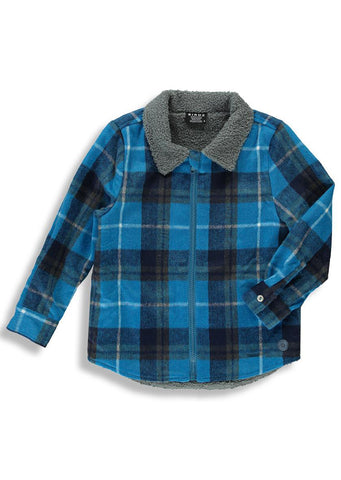 Birdz Junior Lined Flannel Longsleeve Shirt Blue/Grey Plaid