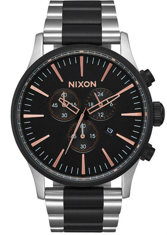 Nixon Sentry Chrono - Black/Rose Gold