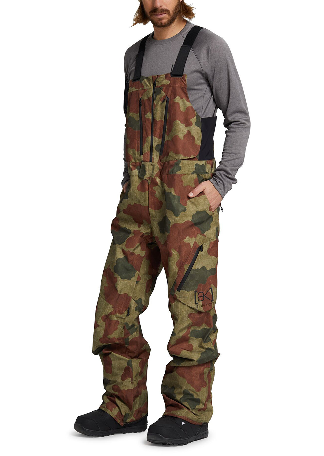 Burton AK Men's GORE-TEX Cyclic Bib Pants Martini Olive Telo Camo