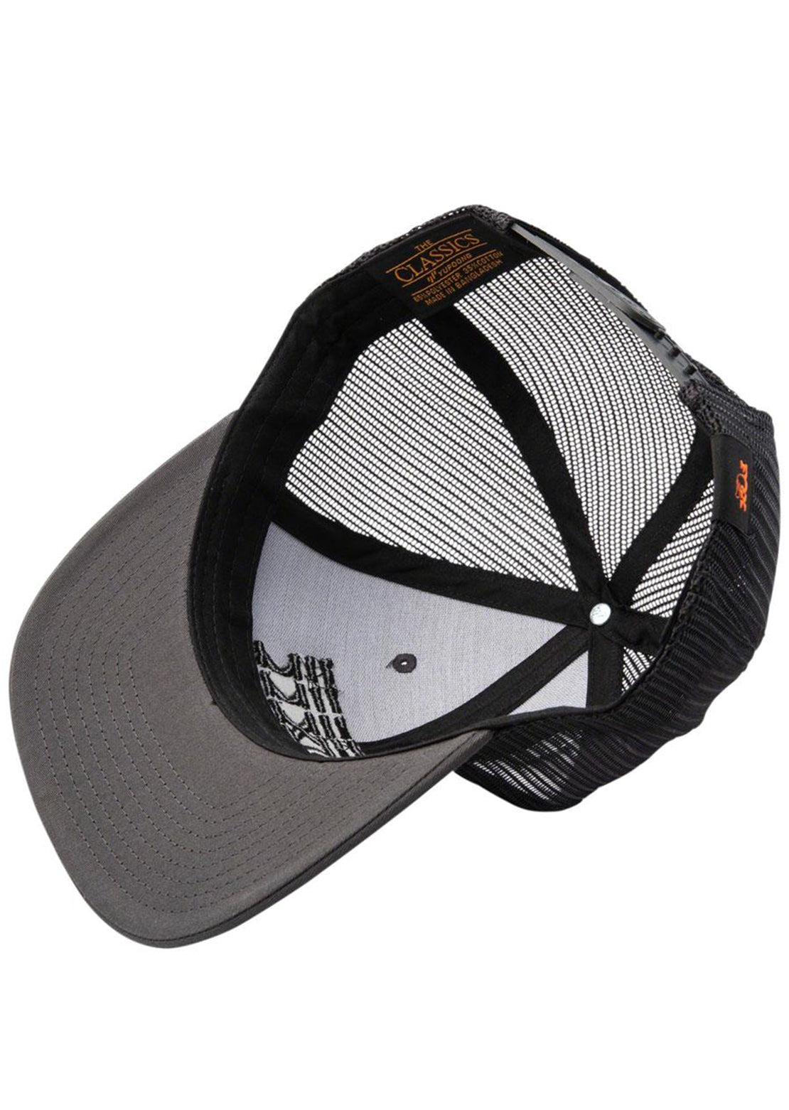 Fox Factory Stacked Flat Brim Trucker Cap Charcoal