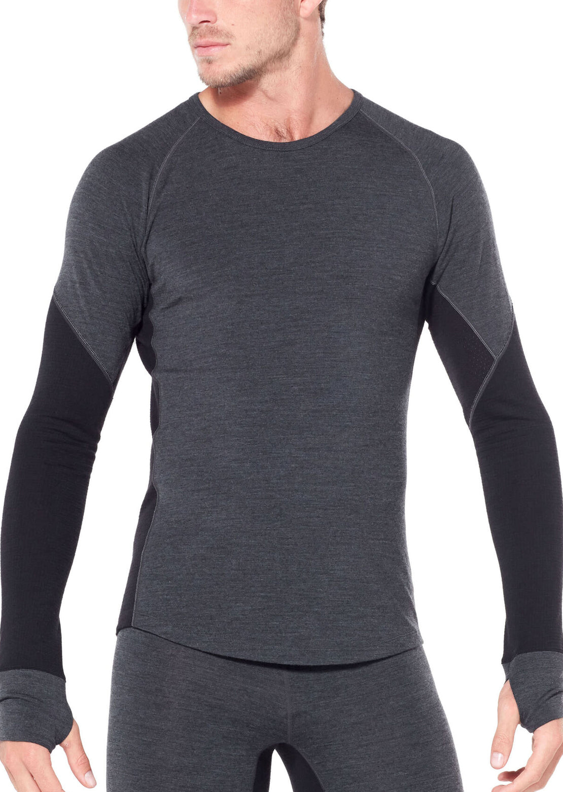 Icebreaker Men's Bodyfitzone Merino 260 Zone Longsleeve Thermal Jet Heather/Black