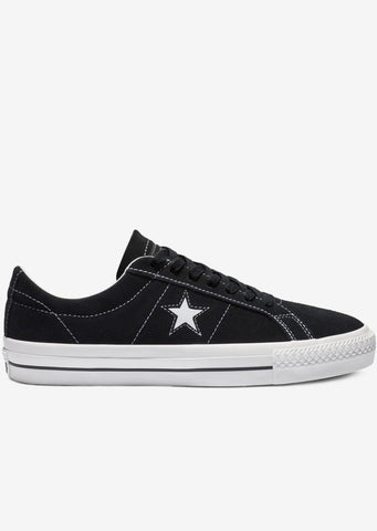 Converse Men's One Star Pro Classic Suede Low Top Shoes Black/White/White