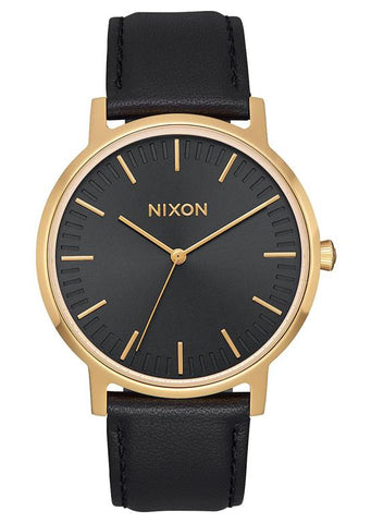 Nixon Women's Porter 35 Leather - All Black/Gold