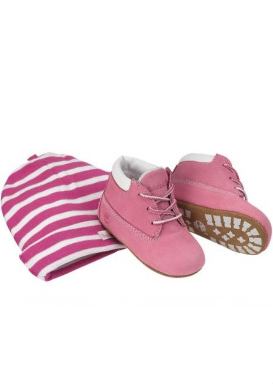 Timberland Crib Bootie with Hat - Fushia Rose