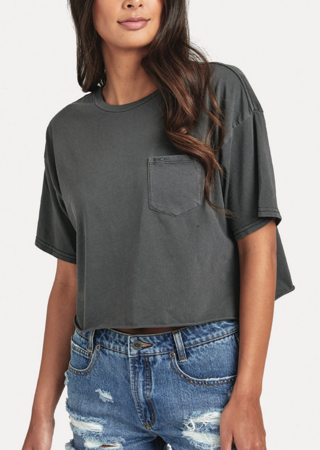 RVCA Women's PTC Boyfriend Crop Tee Pirate Black