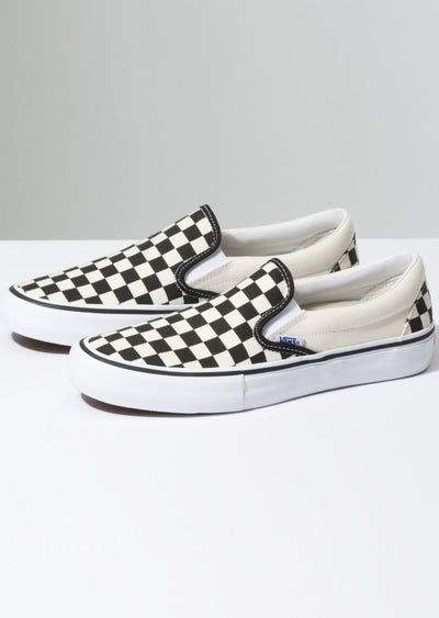 Vans Men's Slip-On Pro Shoes Checkerboard Black/White