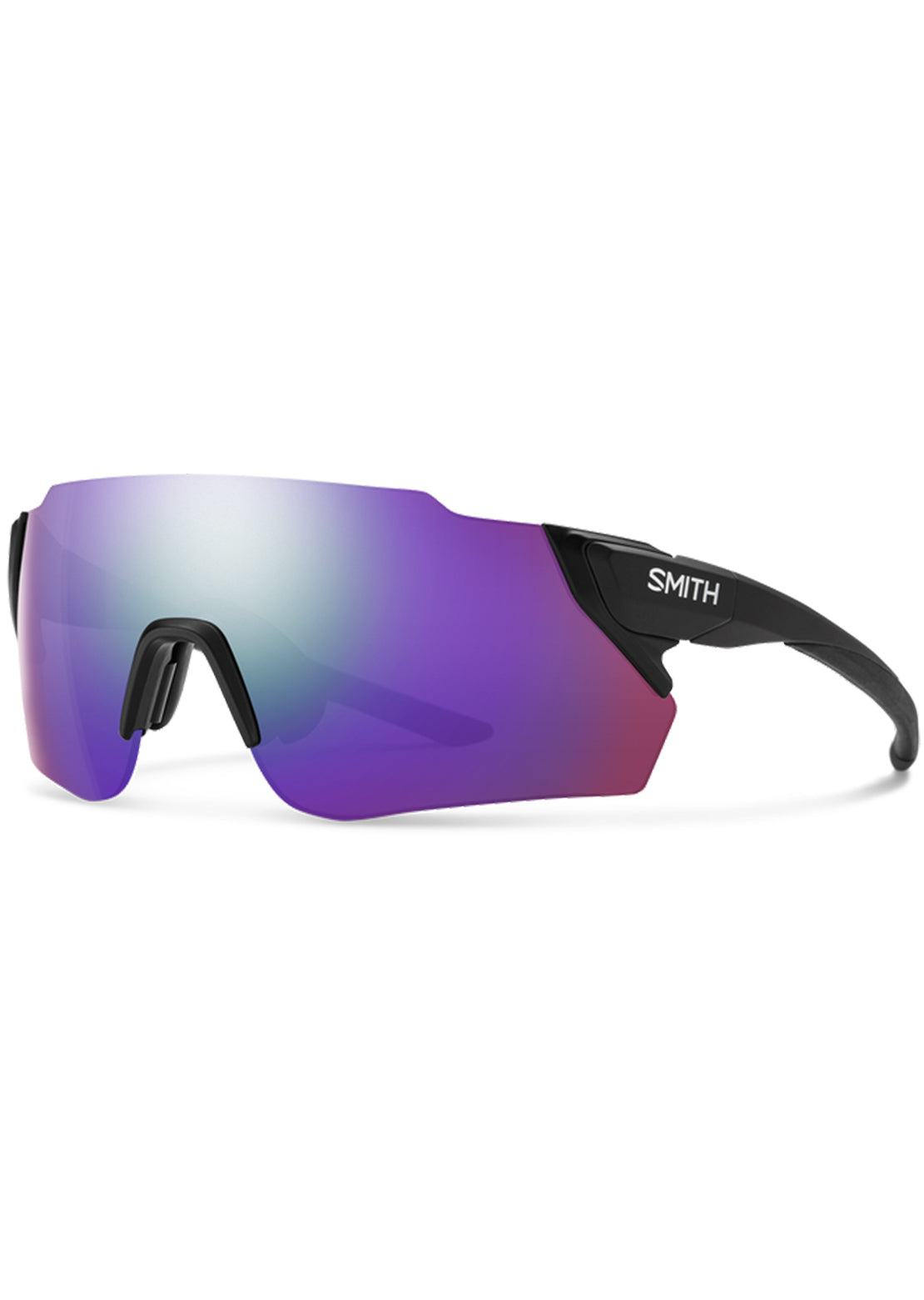 Smith Attack Mag Max Bike Sunglasses Matte Black/Chromapop Violet Mirror