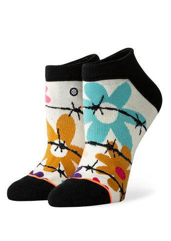 Stance Women's Flower Power Invisible Socks (Flower Power) Off White