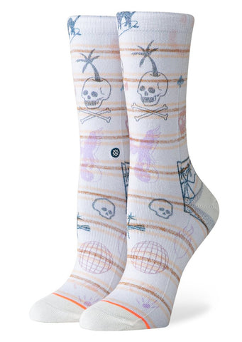 Stance Women's Hippie Moshpit Foundation Crew Socks Off White