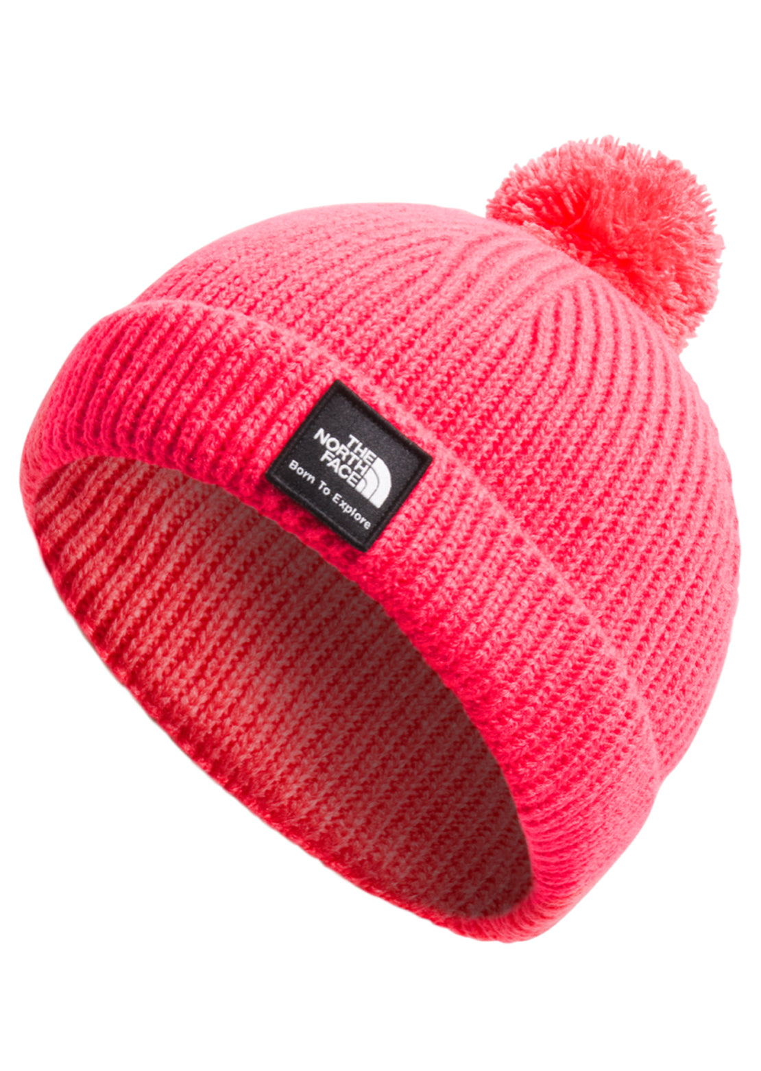 The North Face Infant Littles Box Logo Pom Beanie Paradise Pink