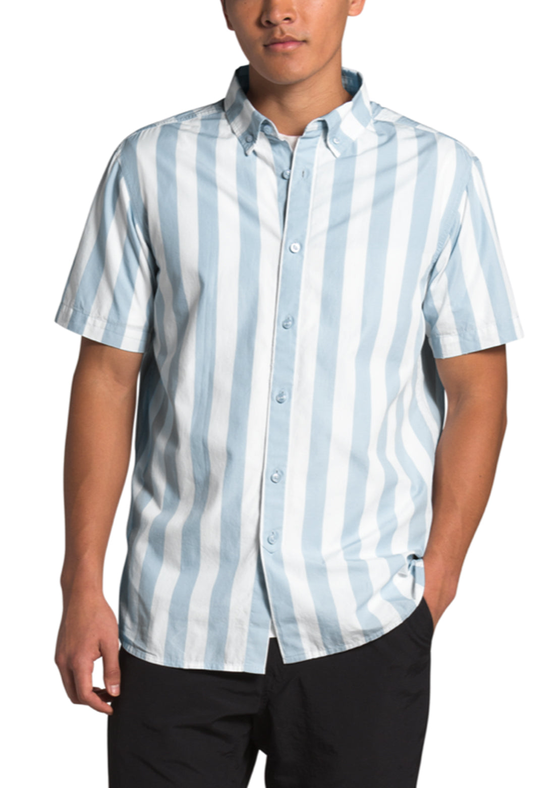 The North Face Men's Monanock II Short Sleeve Shirt Faded Blue Elevation Stripe