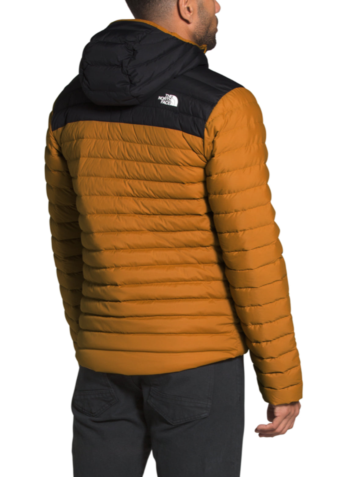 The North Face Men's Stretch Down Hoodie Jacket Timber Tan/TNF Black