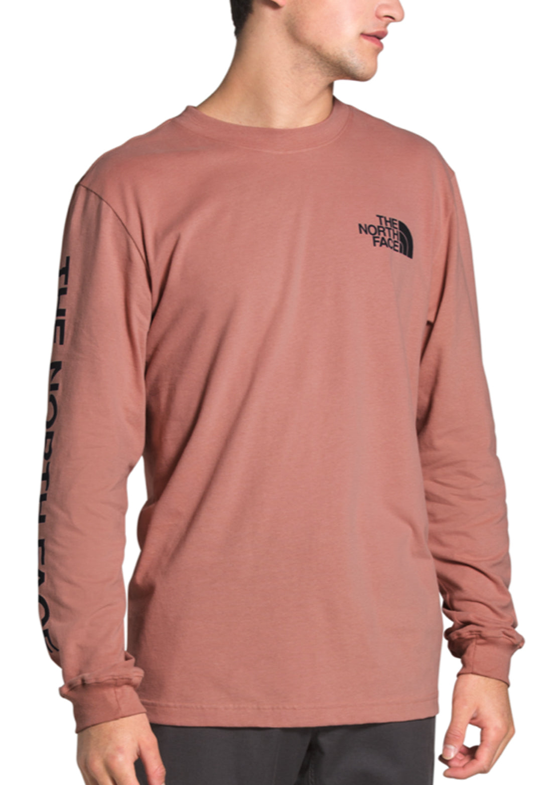The North Face Men's TNF Sleeve Hit Longsleeve Shirt Pink Clay/TNF Black