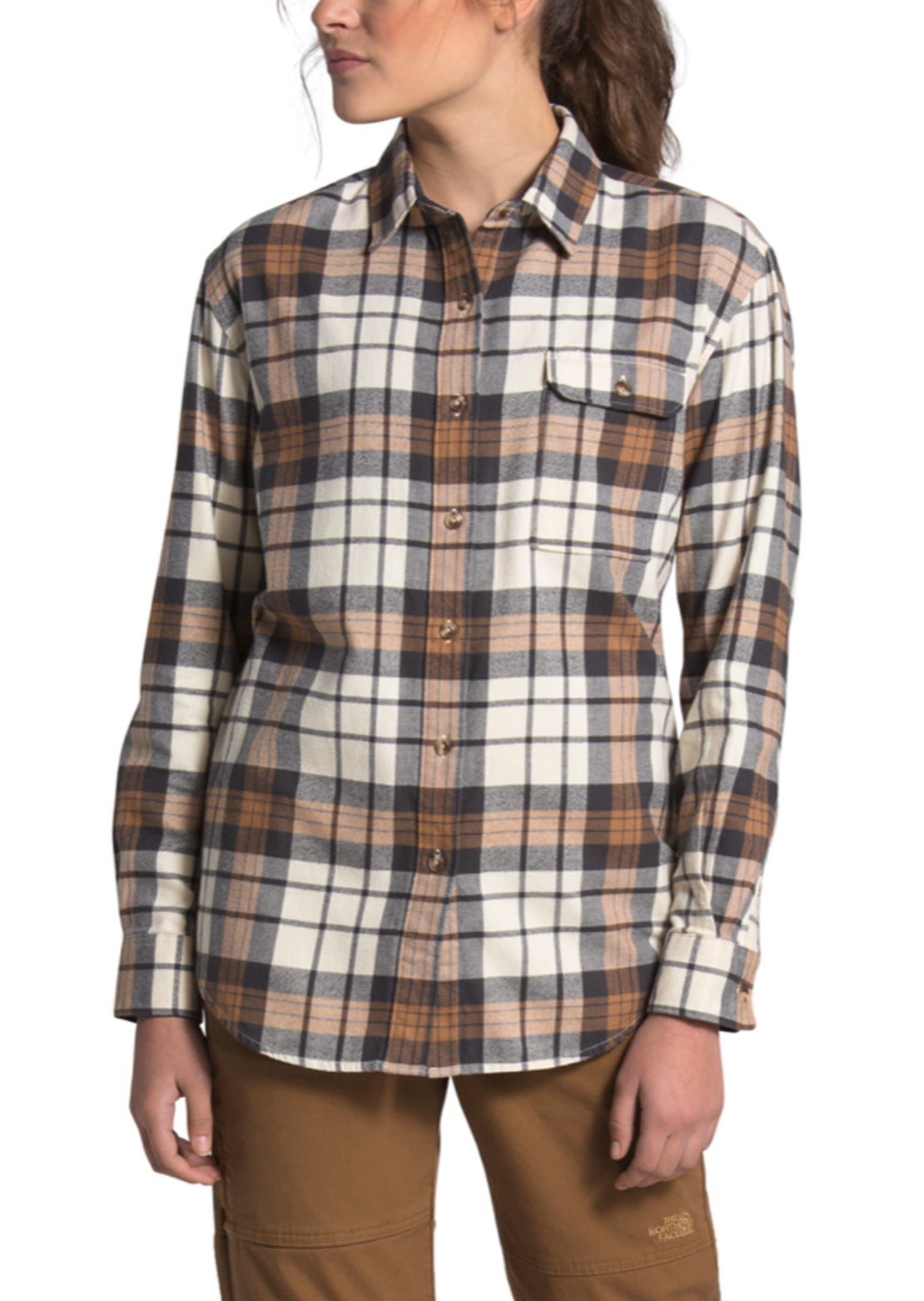 The North Face Women's Berkeley Boyfriend Longsleeve Shirt Vintage White Heritage Medium Three Color Plaid
