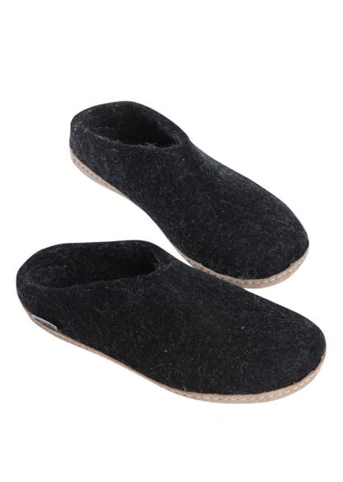 Glerups Unisex Leather Sole Slippers Black