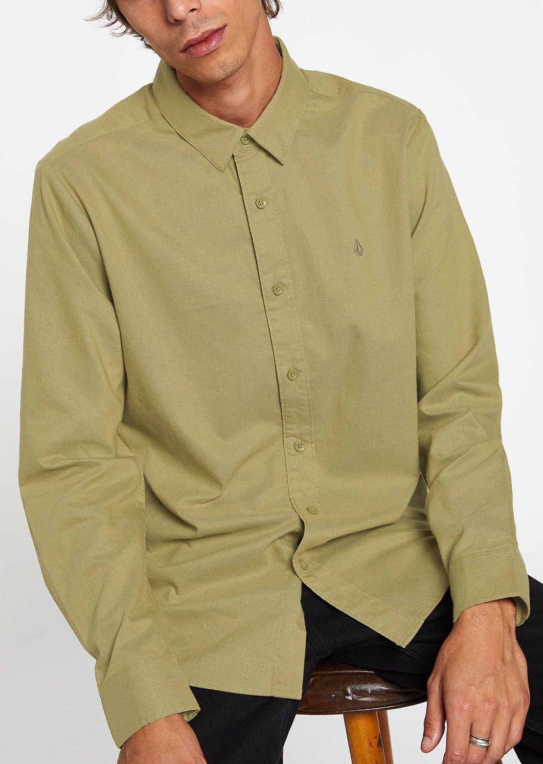 Volcom Men's Oxford Stretch Longsleeve Shirt Mossstone