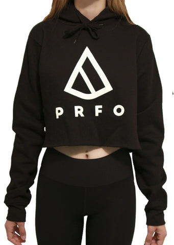 PRFO Women's Icon Knit Crop Hoodie Black
