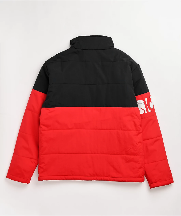 Cookies Glaciers Of Ice Colorblocked Water Proof Jacket W Pieced Sleeve Logo Red Black - BLVD