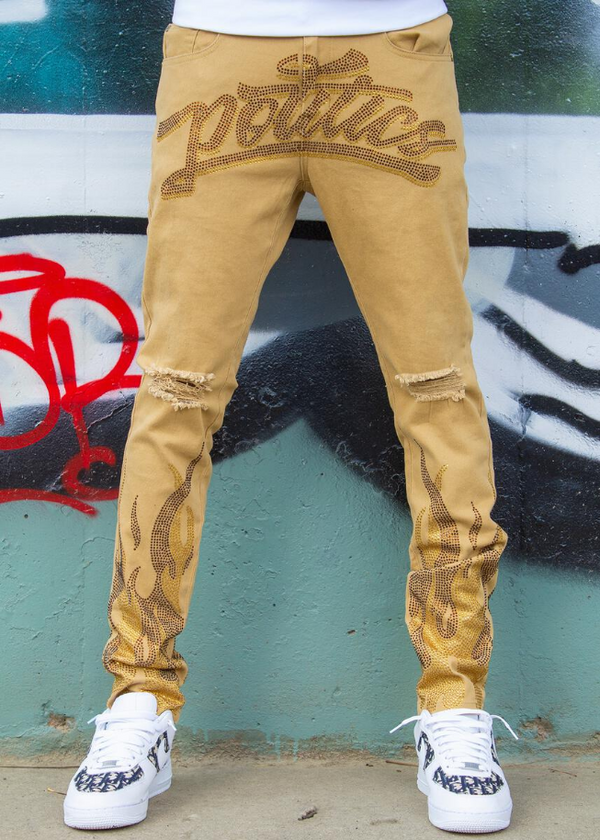 Politics Jeans - Rhinestone Khaki with Brown and Topazz - BLVD