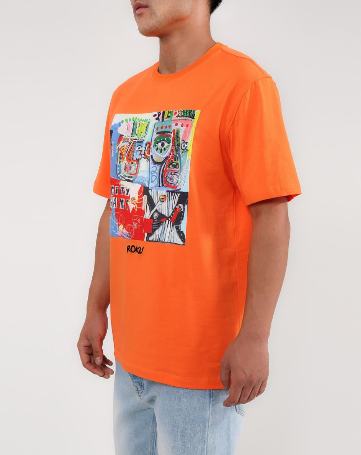 Roku Studio Scribble Art Shirt Orange - BLVD