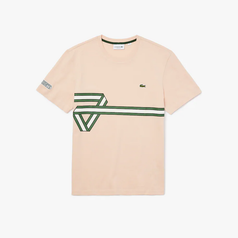 Men's Lacoste Heritage Ribbon Regular Fit Cotton T-shirt TH5166-51 Light Pink • Z0E - BLVD