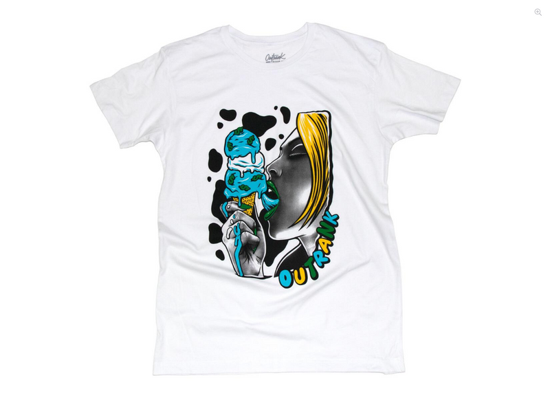 Cold Drip T-shirt White Yellow & Blue - BLVD