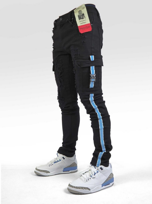 Industrial Indigo Cargo Taping Jean (Black/Baby Blue) - BLVD