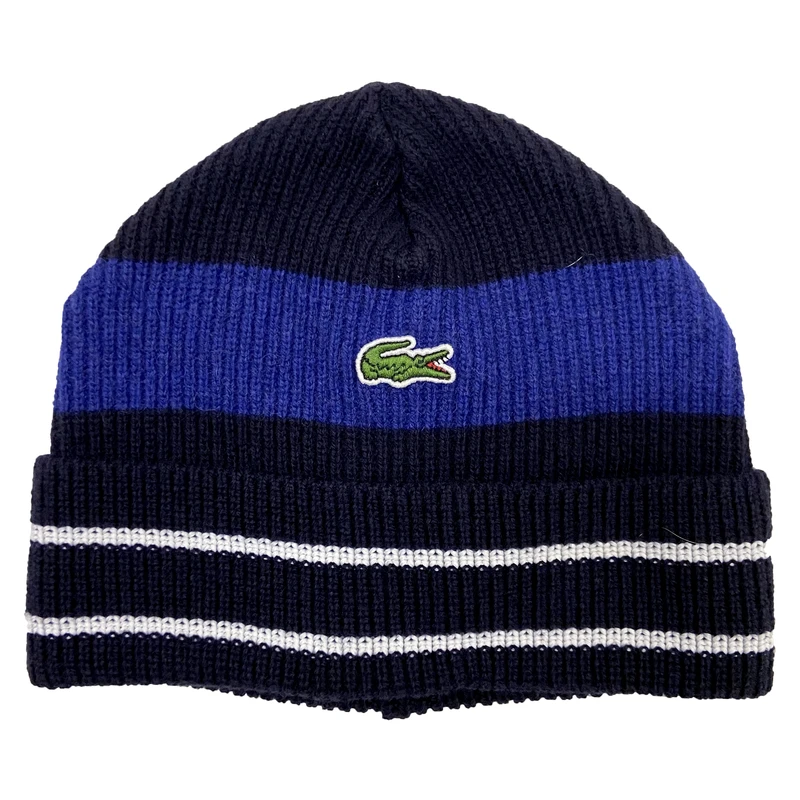 Lacoste Men's Made in France Striped Ribbed Wool Beanie (Black) - BLVD