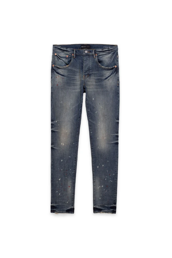 Purple Brand Jeans P002 Mid Rise With Tapered Leg Vintage Spotted Indigo - BLVD