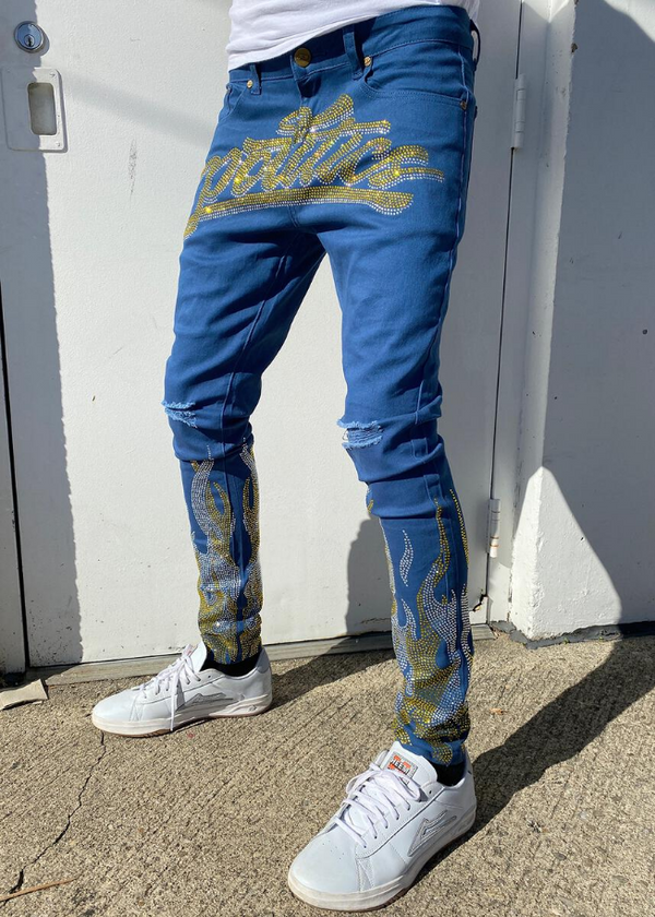 Politics Jeans - Rhinestone Royal With Yellow and White - BLVD
