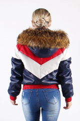Women Dakoma Leather Jacket (Red Wht Navy) - BLVD