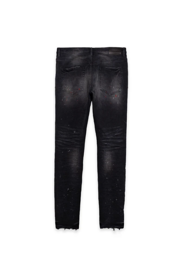 Purple Brand Jeans P002 Mid Rise With Tapered Leg Vintage Spotted Black Wash - BLVD