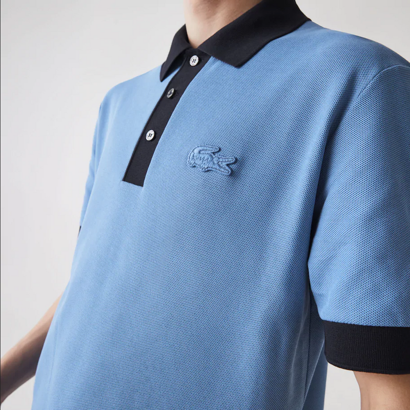 Men's Lacoste Relaxed Fit Textured Cotton Piqué Polo Blue Navy - BLVD