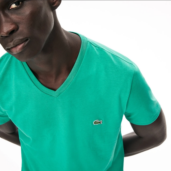 Men's Lacoste V-neck Pima Cotton Jersey T-shirt Teal Green S5j - BLVD