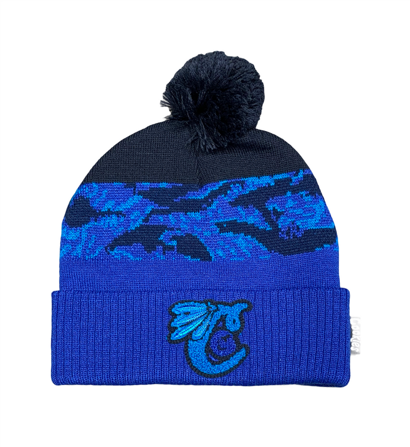 Cookies Top Of The Key Tiger Camo Knit Pom Beanie Blue - BLVD
