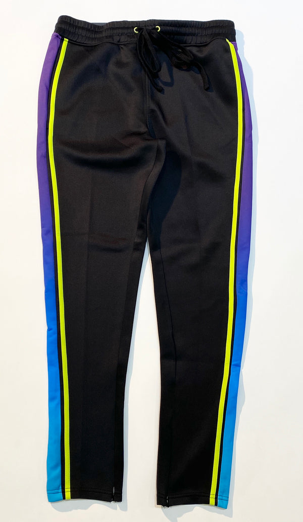 Gradations Black Lime Purple Track Pants - BLVD